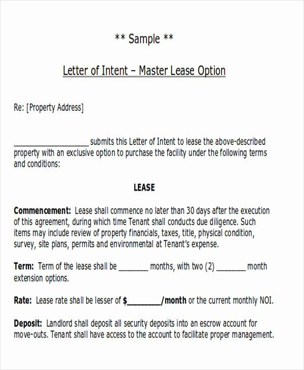 24 Letter Of Intent Lease Template In 2020 Letter Of Intent