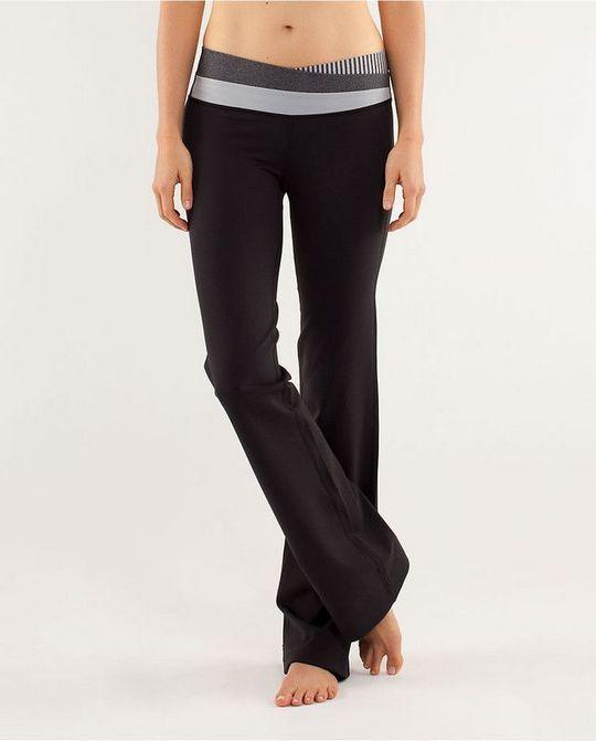$51.98 Lululemon Athletica Yoga Astro Pants Black / Classic Stripe Mint Moment Black
