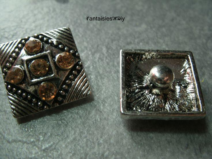 (BCK10) Un bouton pression carré Chunk ethnique argenté & rosé strass 18mm : Boutons par fantaisies-n-diy
