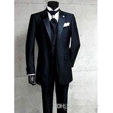 2016 Verkauf Slim Fit Schwarz Bräutigam Smoking Stehkragen Groomsmen Best Man Hochzeit Prom Suits (Jacke + Pants + weste + Tie)(China (Mainland))