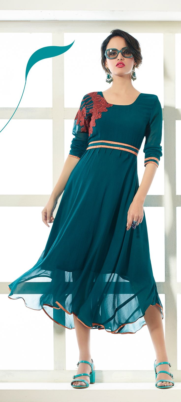 Dark green stylish #kurtis design