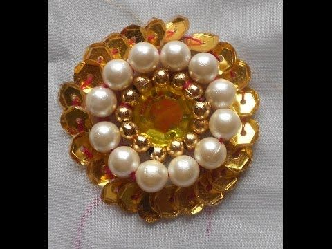 HAND EMBROIDERY: How to do- A Big Beautiful rosette Sequin Flower using Kundan Stone & Beads - YouTube
