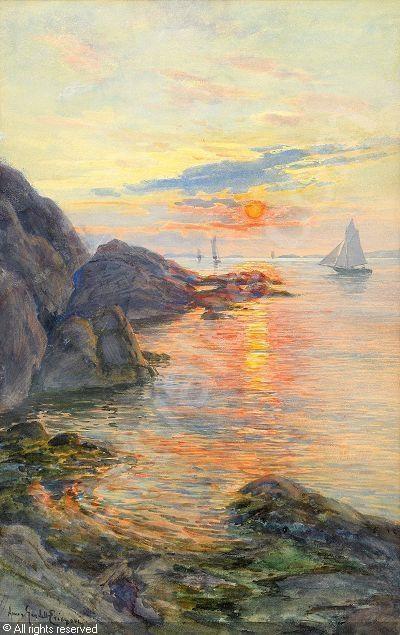 Anna Gardell Ericson (1853-1939): Marstrand i solnedgång