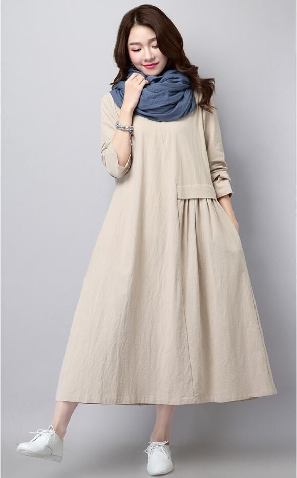 Linen dress literary solid color pleated fashion long-sleeved loose big size casual women new spring and autumn