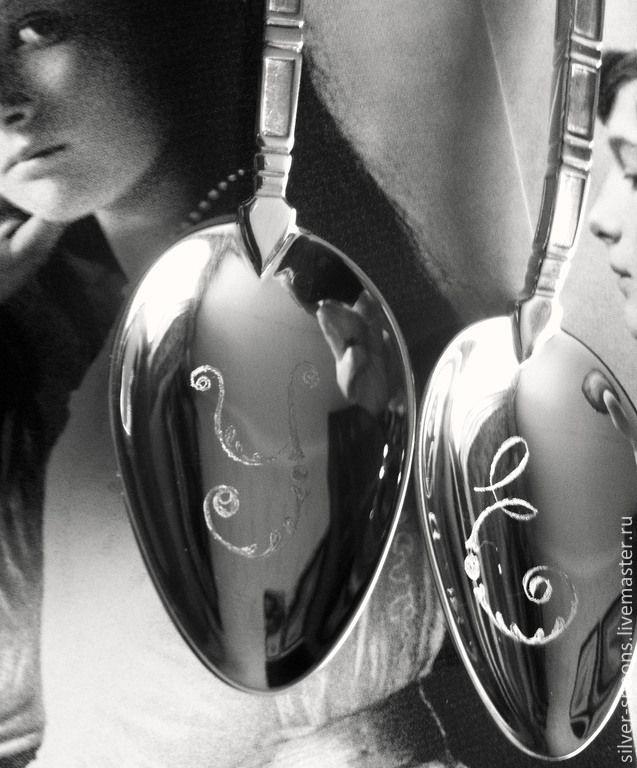 """Чайный набор """"Ангелы Хранители"""" (тет-а-тет) с гравировкой """"У"""" и """"Е"""" - Серебряные ложки Скоблинского - Ярмарка Мастеров"""