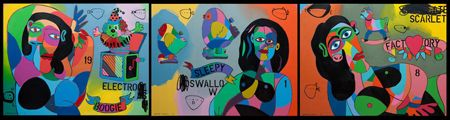 Johnny  Romeo  I Can Dream, I Can Breathe, Helter Skelter  - 2013   Acrylic and oil on canvas   150 x 600 cm