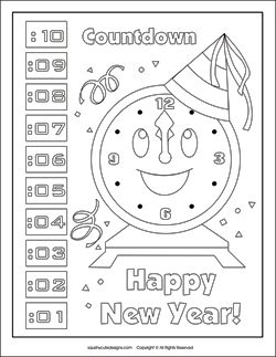 Countdown Clock Coloring Page