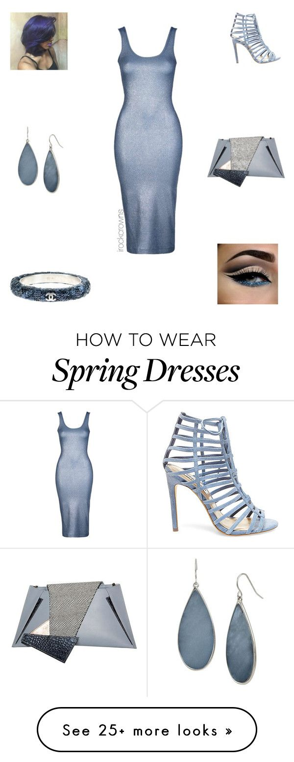 """Dipped in Blue"" by irockcrowns on Polyvore featuring Topshop, Steve Madden, Georgina Skalidi, Kenneth Cole and Chanel"