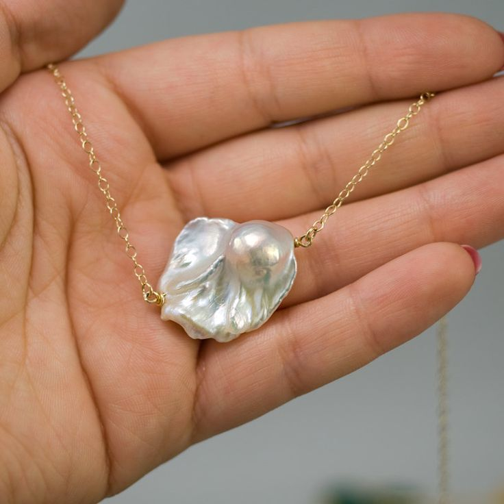Big Baroque Pearl Necklace White Freshwater Pearl by delezhen, $78.00  so stinking pretty