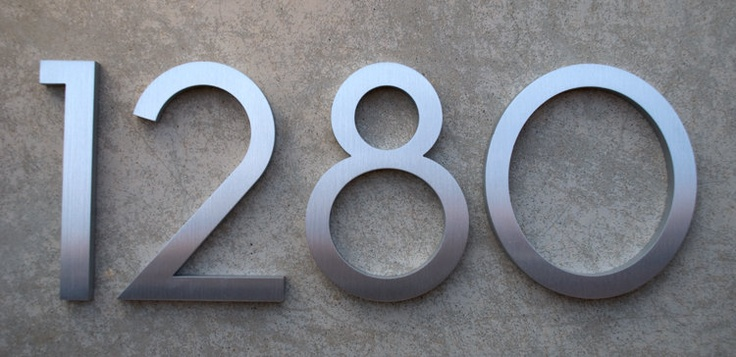 Modern house numbers modern font recycled aluminum set of 4 numbers 6