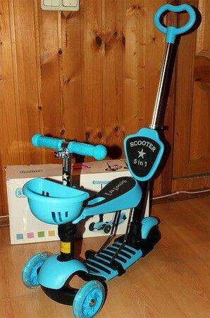 самокат детский 3 колесный scooter  5 в 1 голубой
