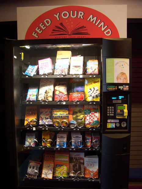 """""""A book-vending machine in Seattle, Washington. I've come across a couple images of these on Flickr—one in Japan, another in Germany. I've never seen any in my travels, but I wouldn't mind it. Sure would come in handy in a subway station. My only question is whether or not the quality of vending-machine books is any better than vending-machine food. Seems fun to extend the metaphor, doesn't it? One is less likely to buy a history of labor unions from a machine than, say, a new Stephenie Meyer."""""""