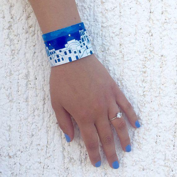 Santorini  Hand geschilderde lederen Manchet armband