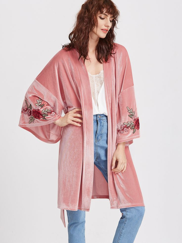 Shop Pink Embroidered Flower Applique Belted Velvet Kimono online. SheIn offers Pink Embroidered Flower Applique Belted Velvet Kimono & more to fit your fashionable needs.