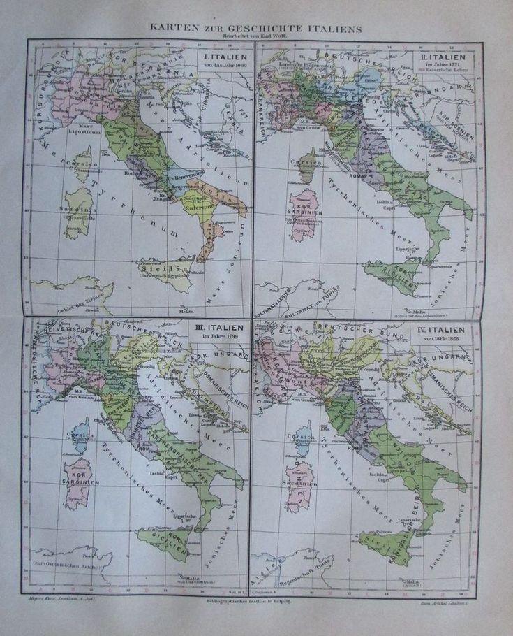 1888 KARTEN ZUR GESCHICHTE ITALIENS alte Landkarte Antique Map