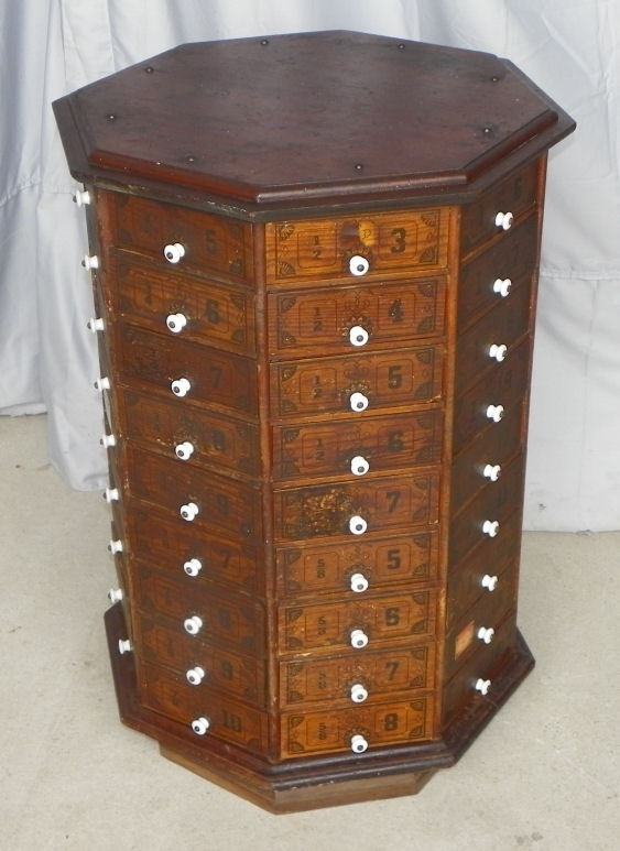 antique display cabinet for a general store that held screws and bolts