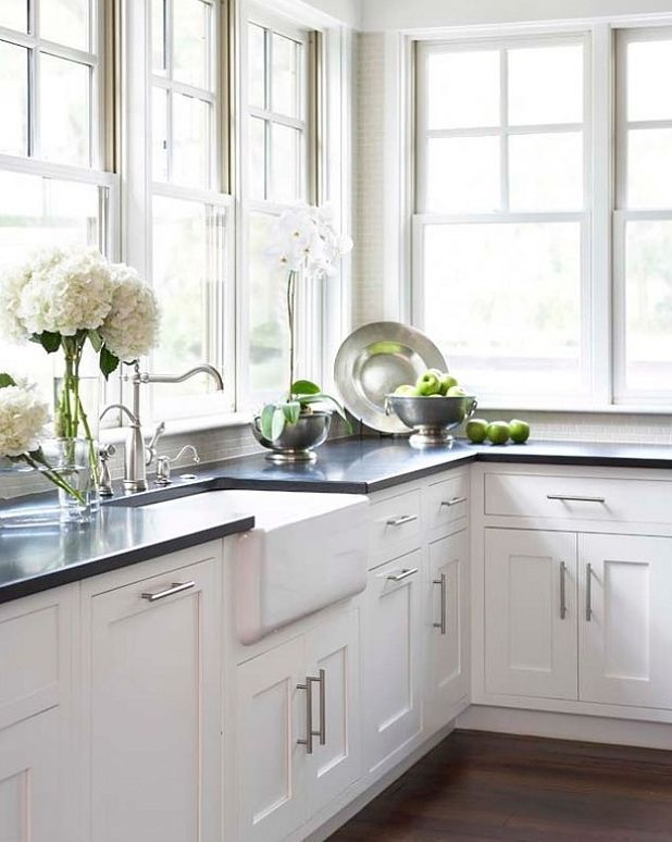 Kitchen White Shaker Cabinets Absolute Black Granite Counters Farmhouse Sink Lots