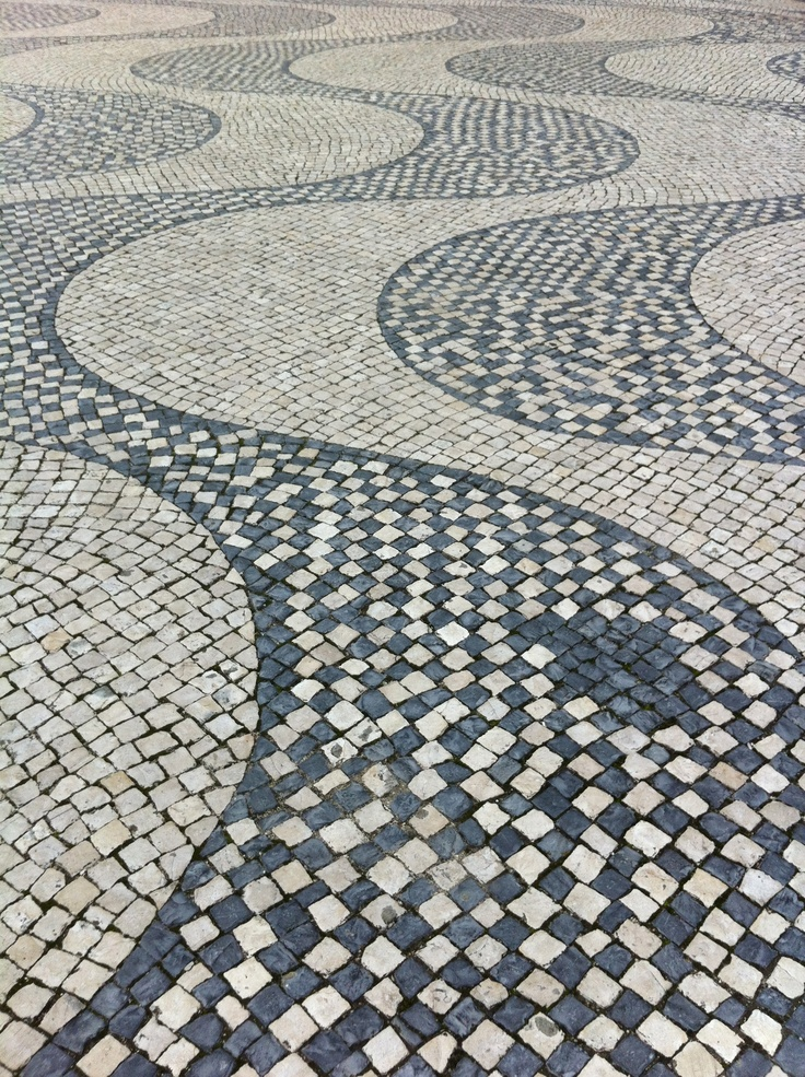 Portuguese Drawings on the floor. Amazing hand made work. Lisbon, Portugal. This is made, one by one.