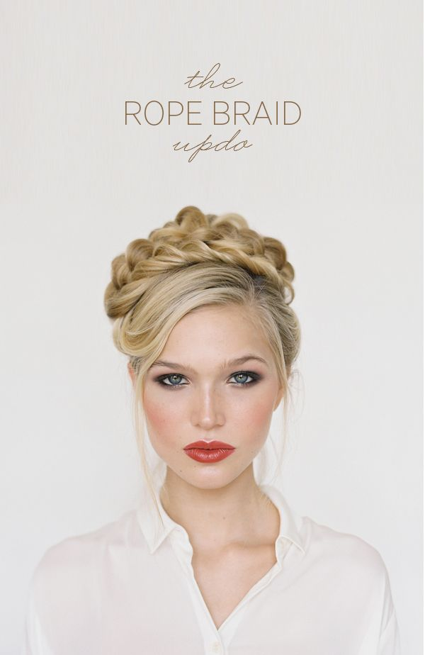 This rope braid updo is so romantic it could be from a fairy tale.