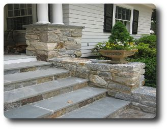 Stone Entry Steps | Natural Stone front Steps Custom Stone Work