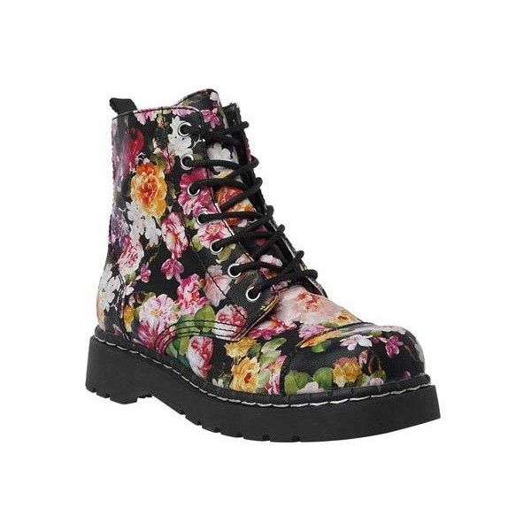 Women's T.U.K. Original Footwear T2250 Dark Floral Combat Boot Ankle... (£75) ❤ liked on Polyvore featuring shoes, boots, ankle booties, vegan combat boots, bootie boots, lace up boots, lace up bootie and ankle boots
