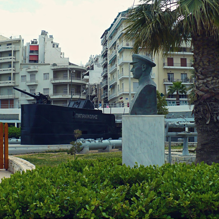 The top of the legendary WWII submarine 'Papanikolis' in front of the Hellenic Maritime Museum. (Walking Athens, Route 24 - Piraeus)