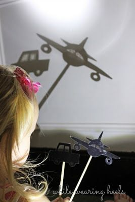 Free printable transportation shadow puppets