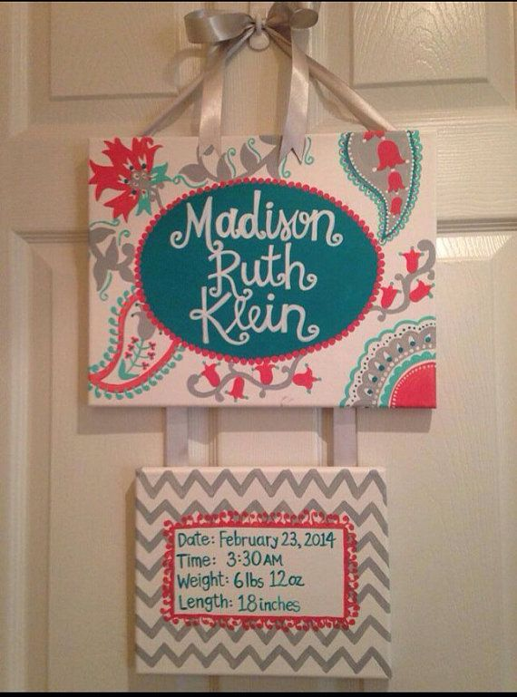 Turquoise and coral hospital door hanger by PaintsbyJanie on Etsy, $50.00