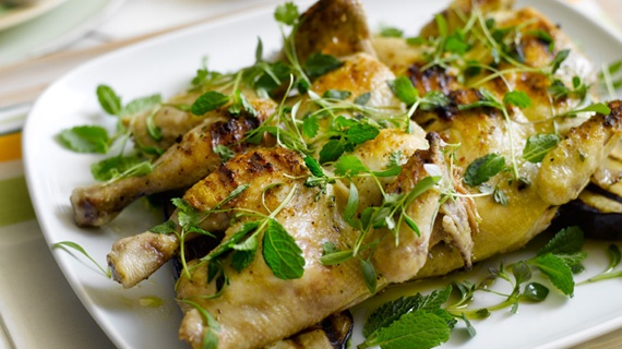 Spatchcocked Poussins with Aubergine