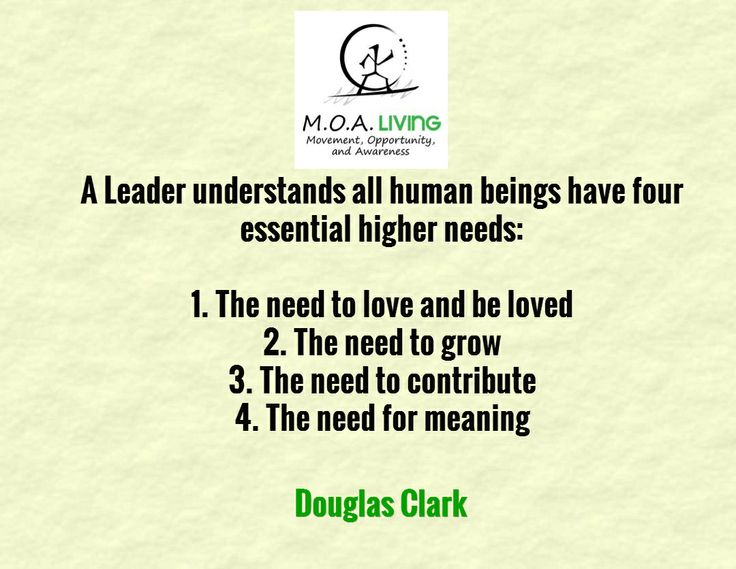 A Leader understands all human beings have four essential higher needs:  1. The need to love and be loved 2. The need to grow 3. The need to contribute 4. The need for meaning   / Douglas Clark