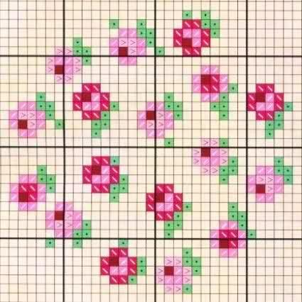 Punto de cruz flores pequeñas -