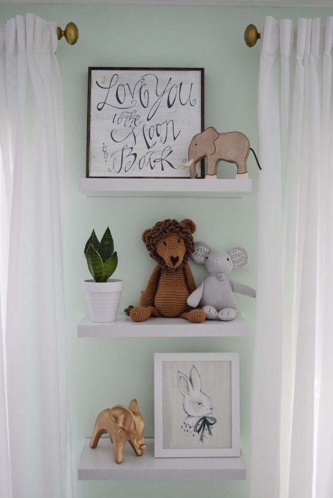 Nursery decor shelves thenurseries for Baby name nursery decoration