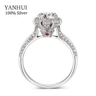 Luxury 100% Real Solid Silver Ring Inlay Natural Ruby Ring Gift Jewelry 7.5mm CZ Diamond Engagement Wedding Rings For Women R046 (32705576246)  SEE MORE  #SuperDeals