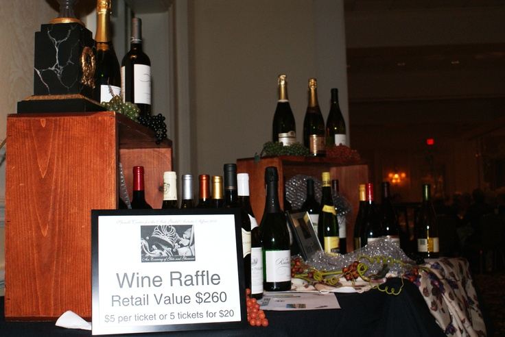 Wine raffle table from the silent auction.