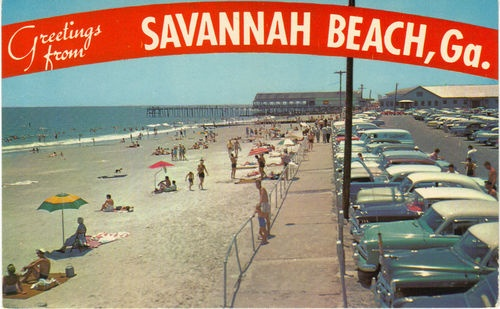Savannah beach georgia ga greetings old cars tybee island for Tybee island fishing pier