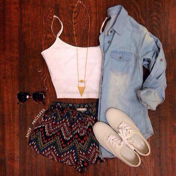 Denim shirt, white vest top, Aztec shorts, necklace, sunglasses, white shoes, cute outfit