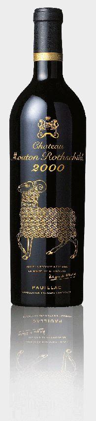 1 Bouteille 75 cl - Château Mouton Rothschild 2000. Depuis 1945, un Grand Peintre illustre chaque année l'étiquette de Château Mouton Rothschild. Pour l'an 2000, exceptionnellement, la Baronne Philippine de Rothschild n'a sollicité aucun peintre.
