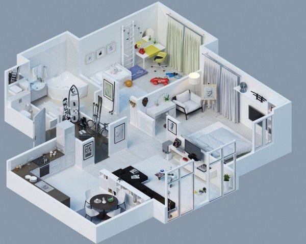 3d apartamentos 12 decor pinterest apartamentos for Maquetas de apartamentos modernos