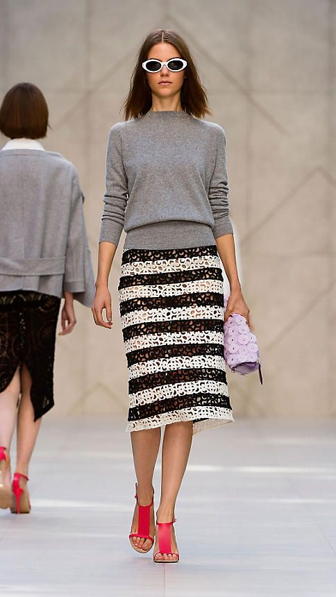 Striped Macramé Lace Pencil Skirt   Burberry