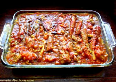 Khoresh Bademjan - Eggplant Stew. Be aware of the amount of oil you use. Try baking the eggplant instead of frying it.