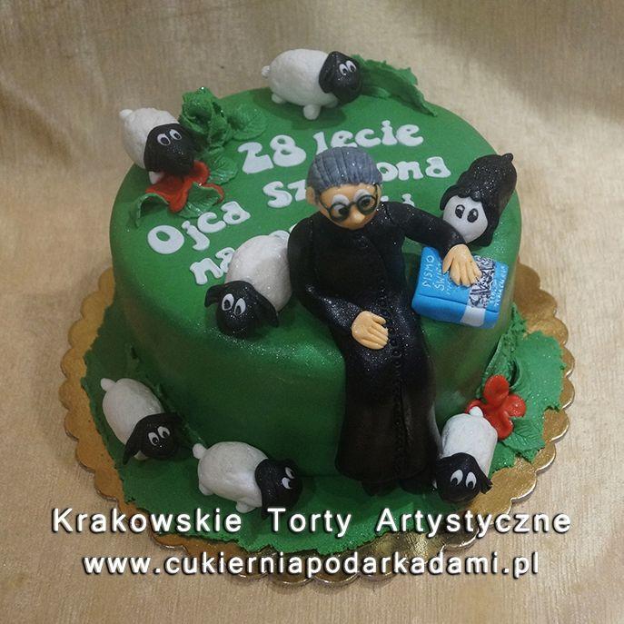 215. Tort dla księdza z owieczkami. Cake for priest with a sheeps.