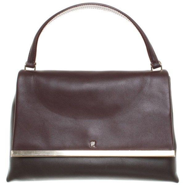 Pre-owned Handbag in Bordeaux / Brown ($380) ❤ liked on Polyvore featuring bags, handbags, bordeaux, carolina herrera handbags, leather handbag purse, leather handbags, man bag and genuine leather purse