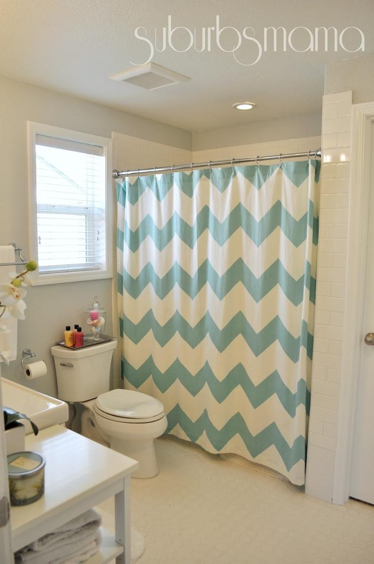 Aqua chevron shower curtain - Chevron Shower Curtain Suburbs Mama