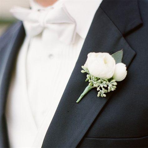 vintage rustic romantic wedding , groom , tuxedo , style , photo , flower ,  White Boutonniere