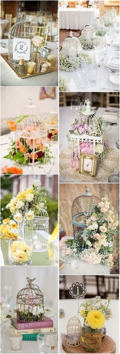 vintage birdcage wedding centerpieces- unqiue wedding decor ideas