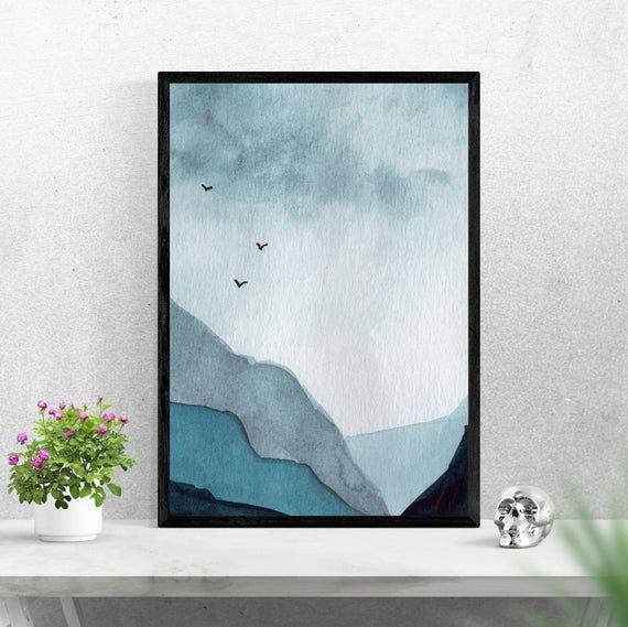 Watercolor Monochromatic Mountain Print Minimal Wall Art Nature Poster Minimal Wall Art Nature Wall Art Nature Prints