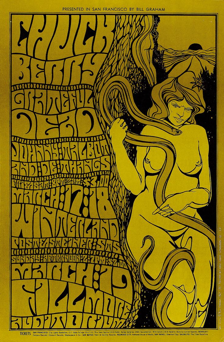 psychedelic-sixties:  Chuck Berry/Grateful Dead/Johnny Talbot & De Thangs, March 17 & 18 , 1967Winterland (San Francisco, CA), Marc...