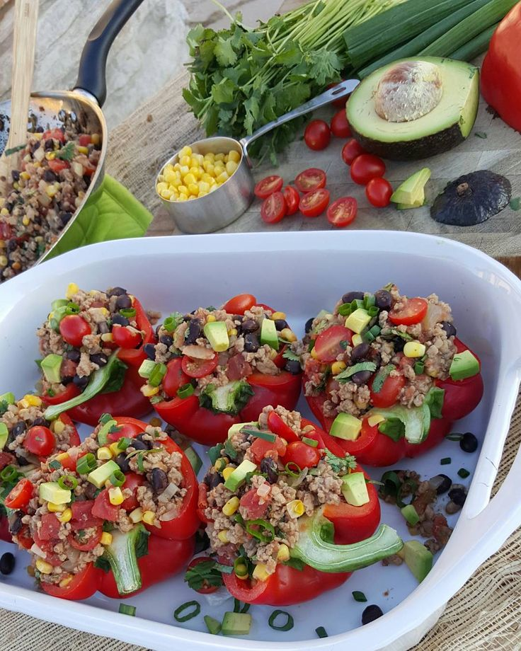 Clean Eating Taco Stuffed Peppers -skip corn and watch salsa ingredients if store bought