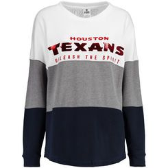Women's Houston Texans PINK by Victoria's Secret Navy/Gray/White Bling Varsity Crew Neck Sweatshirt