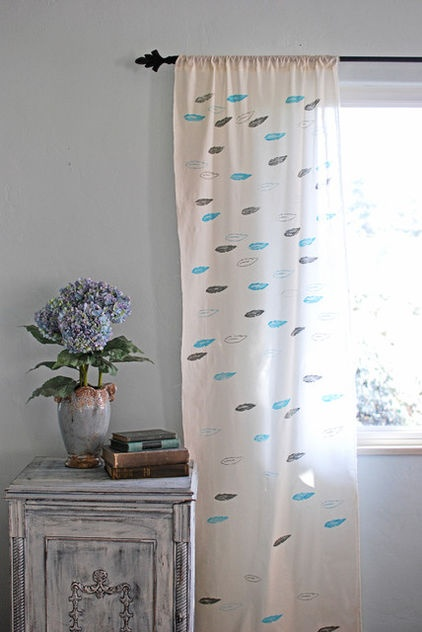 DIY: Create a Custom-Stamped Curtain--  With simple fabric and a stamp carving kit, you can make your own pattern to apply to curtains and other textiles